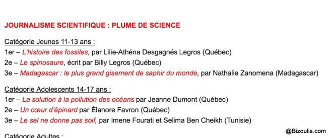 Concours Plume de sciences: 1er et 2è prix pour Lilie et Billy!!!